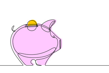 Piggy Bank Continuous Line Vector