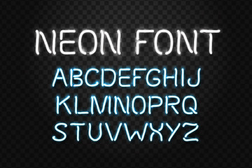 Vector realistic isolated neon font letters for decoration and covering on the transparent background. Concept of broadway alphabet and typography.