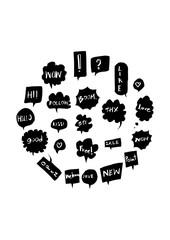 Bubble speech doodle illustration circle form on a4 paper wallpaper line sketch style eps10