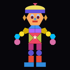 Funny robot from geometric shapes