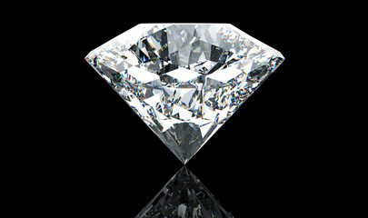 Big white diamond isolated on black background. 3d illustration