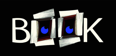 Logo book avec les lettres B et K et des livres formant deux lettres O sur un fond noir
