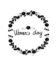 a monophonic abstract black and white background with a flower wreath pattern and an inscription female day