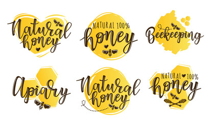 Vector illustration of beekeeping set