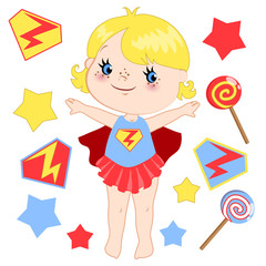 Cute cartoon superhero girl vector clip art set.
