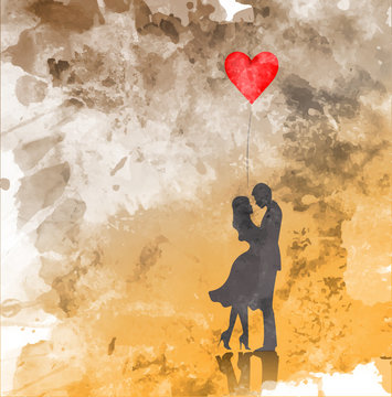 Romantic silhouette of loving couple. Valentines Day 14 February. Happy Lovers. Graphic illustration, watercolor style