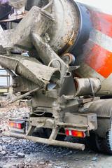 Concrete car mixer in transport position