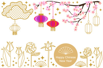 Happy Chinese New Year card. Colorful abstract ornate circles, clouds, origami flowers and oriental lanterns.