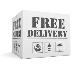 free delivery cardboard box concept  3d illustration
