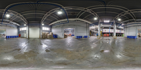 360 panorama angle view in stock waste hazardous recycling and storage plant. Full 360 by 180 degree panorama in equirectangular spherical projection, separate garbage collection. skybox VR content.