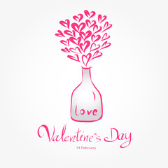 Valentine day and Glass bottles Heart vector illustration