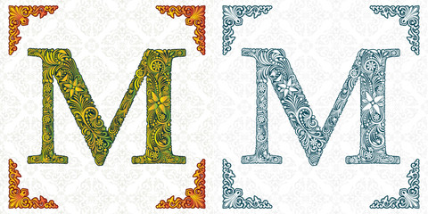 Vector letter M. Elegant patterned font. Monogram. Alphabet from leaf ornament. Victorian style. Handmade. Template for wedding invitations, postcards, booklets, posters, printing.
