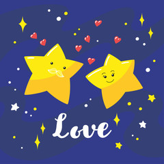 Couple of cute cartoon stars in the night sky and a hand-written inscription Love. Vector illustration.