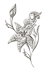 painted vector linear black and white flower with butterfly