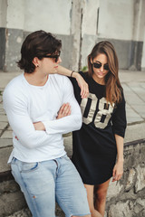 Cool couple posing outside