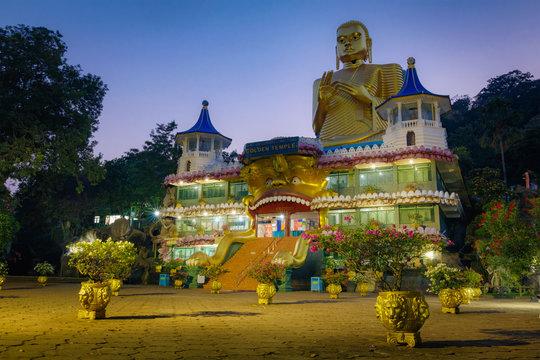 Beautiful golden temple in Dambulla, largest, best-preserved cave-temple complex in Sri Lanka