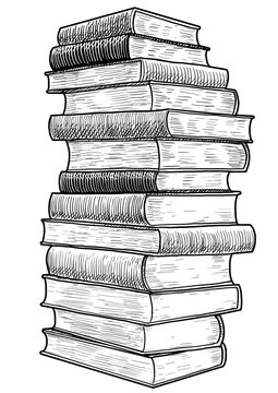 Stack of books illustration, drawing, engraving, ink, line art, vector