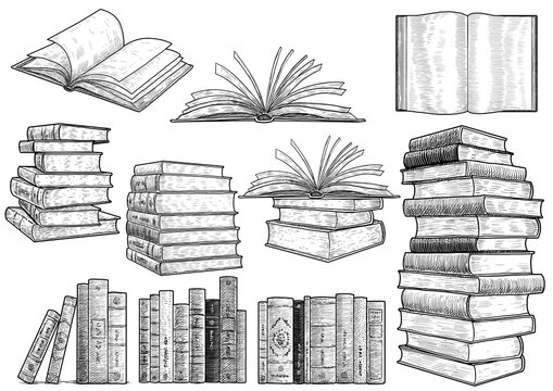 PrintBook collection illustration, drawing, engraving, ink, line art, vector