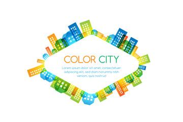 Cityscape colorful decorations.