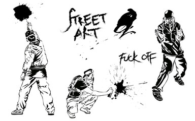 Set of graffiti art. Artists, signs and splashes. Collection street art elements. Vector illustration.