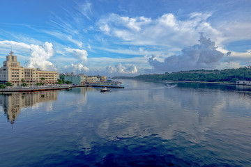 Morning view of the bay entrance from old Havana, Cuba