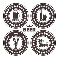 Beer rubber stamp. Isolated beer on white background