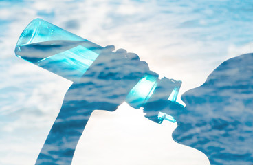 Drinking water heath concept. Double exposure of woman drinking bottle of water against water surface.