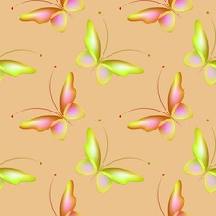 Seamless background with colorful butterflies. Regular pattern.  Butterflies in color green and pink.