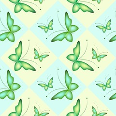 Seamless background with colorful butterflies. Regular pattern.Green butterflies in squares.