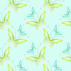 Seamless background with colorful butterflies. Regular pattern. Butterflies in color green and blue.