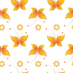 Seamless background with colorful butterflies. Regular pattern.  Butterflies in color yellow and white.