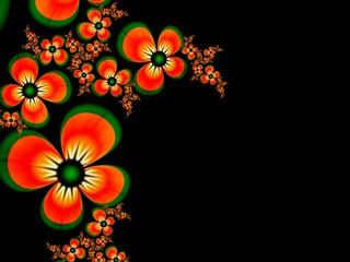 Fractal image, beautiful template for inserting text,  in color black and orange.  Floral template with place for text. ..Graphic design for business cards and like.....