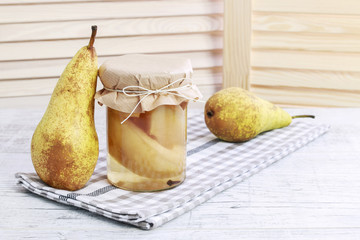 Pickled pears on the table
