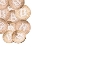 Many bitcoins on a white background