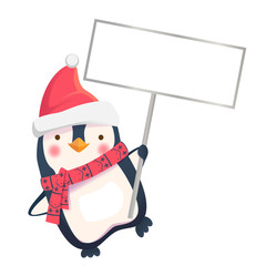 penguin holding sign