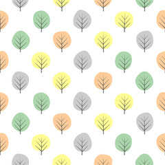 Tiny decorative trees seamless pattern. Cute nature background with pastel leaves. Autumn forest vector illustration. Design for textile, wallpaper, fabric.
