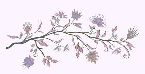 Branch with fantastic flowers. Vector vintage flowers on a white background.