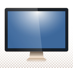 Computer monitor, with a blank screen, view front, isolated on white - transparancy background. To represent your application