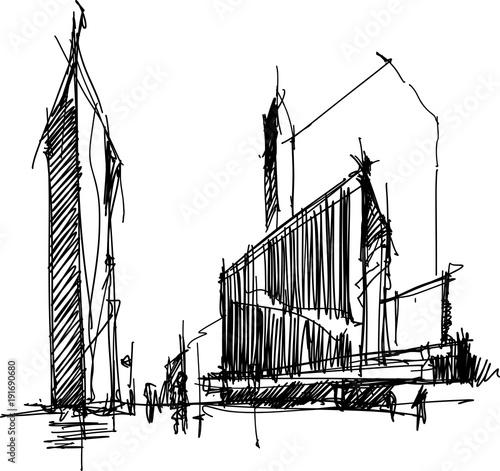 modern architecture sketch. Hand Drawn Architectural Sketch Of A Modern Abstract Architecture