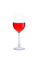Glass red wine isolated on white background. Realistic photo image.