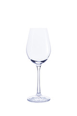 Empty transparent glass for wine isolated on white background.