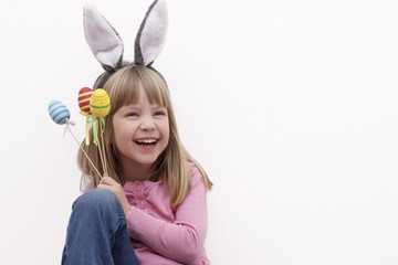 Girl wearing bunny ears