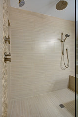 Chic Walk-in shower with built-in bench