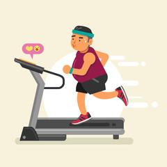 Fat man running on a treadmill. Vector illustration