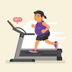 Fat woman running on a treadmill. Vector illustration