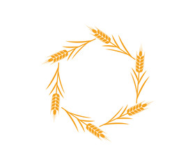 vector logo design and elements of wheat grain, wheat ears, wheat seed, or wheat rye