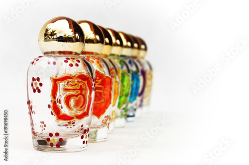 Glass Jars With The Symbols Of The Seven Chakras Psychic Energy