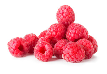 heap of raspberry isolated on white background