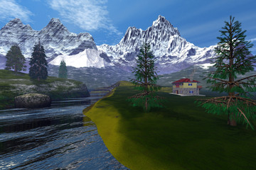 Mountains,  an alpine landscape, a house on the grass, a beautiful river and snowy peaks in the background.