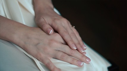 Bride's hands with ring. Wedding. Wedding day. Hands of the bride before wedding. Wedding accessories